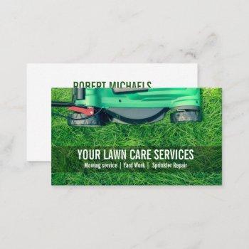 green grass yard lawn care gardening landscaping business card