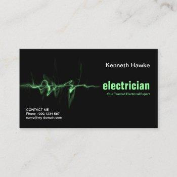 green lightning electrical strike electrician business card