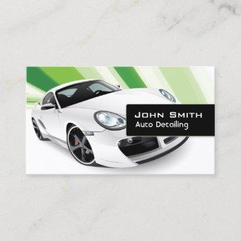 green mobile auto detailing car dealer business card