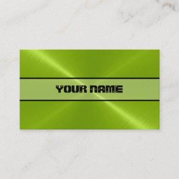 green shiny stainless steel metal business card