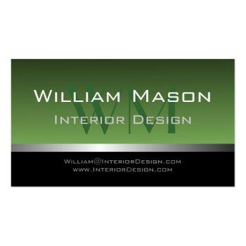 Small Green & Silver Stripe Professional Business Card Front View
