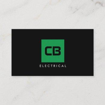green square monogram construction, electrical business card