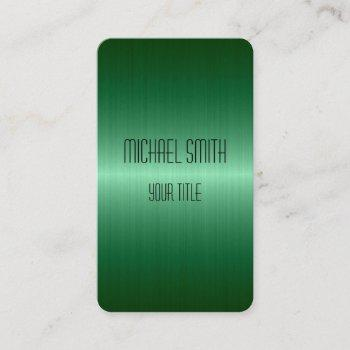 green stainless steel metal business card