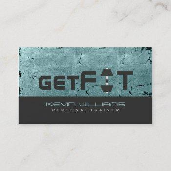 green tint vintage grunge texture fitness trainer business card
