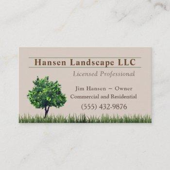 green tree landscaping yard tree service business card
