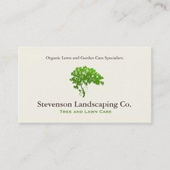 green tree logo  lawn care landscape designer business card