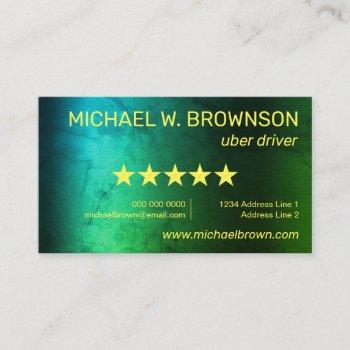 green uber minimal driver business card
