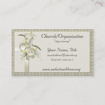 green w/gold cross/hearts/flowers business cards