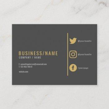 grey and gold  social media business card. business card