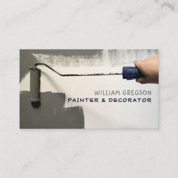 grey paint roller, painter & decorator business card