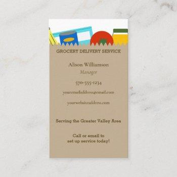 grocery store market bag delivery service business card