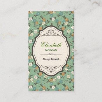 groupon - massage therapist elegant vintage floral business card