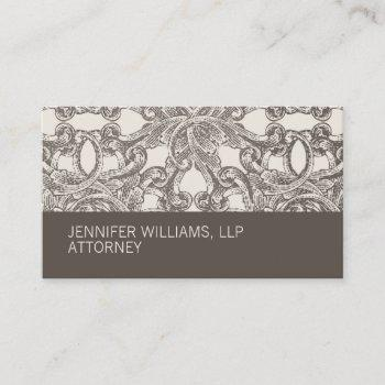 groupon taupe damask attorney business card