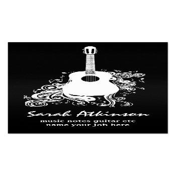 Small Guitar Cool Black Awesome Business Card Front View