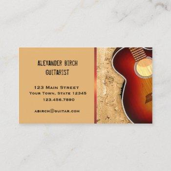 guitar, stone wall business card