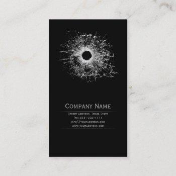 gun shop broken glass black business card