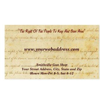 Small Gun Shop Collector Business Card Back View