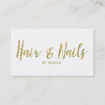 hair and nails gold glitter cosmetologist business card