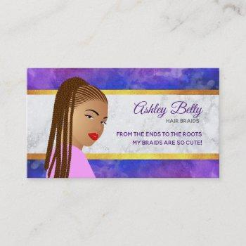 hair braider slogans business cards