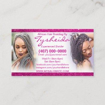 hair braiding loctician business card template