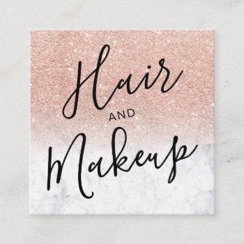hair makeup rose gold glitter marble social media square business card