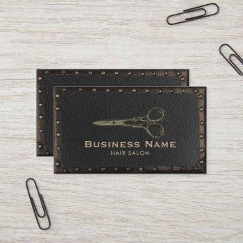 hair salon antique scissor vintage leather & metal business card