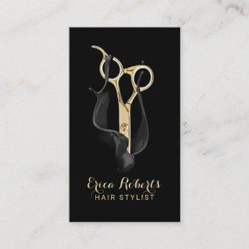 hair salon modern black & gold hair stylist business card