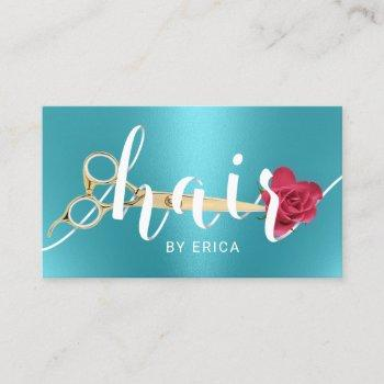 hair salon scissor & flower typography turquoise business card