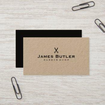 hair stylist barber scissor rustic kraft business card