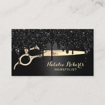 hair stylist black glitter drips beauty salon business card