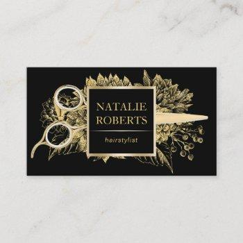 hair stylist black & gold floral beauty salon business card