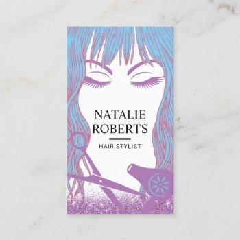 hair stylist blue hair beauty girl lavender salon business card