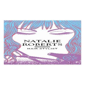 Small Hair Stylist Blue Hair Beauty Girl Lavender Salon Business Card Front View