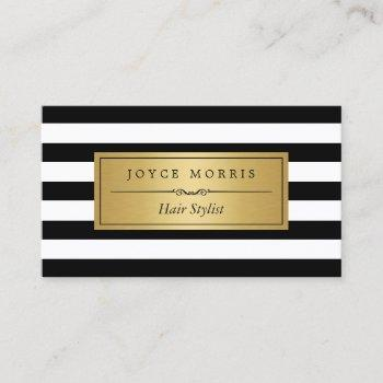 hair stylist - classic black white stripes business card