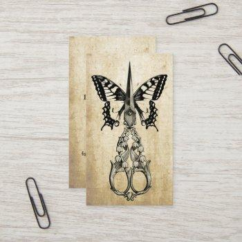 hair stylist elegant butterfly & scissor vintage business card