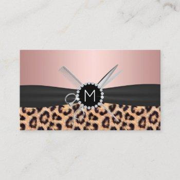 hair stylist foil rose gold monogram leopard business card