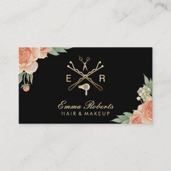 hair stylist gold salon logo vintage floral business card