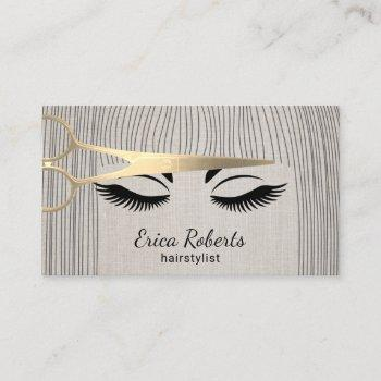 hair stylist gold scissor & girl salon linen business card