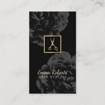 hair stylist gold scissor logo classy black floral business card