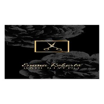 Small Hair Stylist Gold Scissor Logo Classy Black Floral Business Card Front View