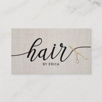 hair stylist gold scissor typography elegant linen business card