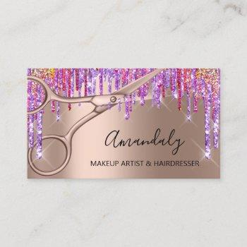 hair stylist hairdresser rose gold scissors drip business card