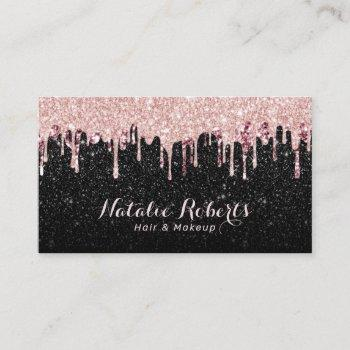 hair stylist makeup artist rose gold drips glitter business card