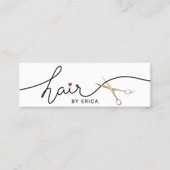 hair stylist minimalist typography beauty salon mini business card