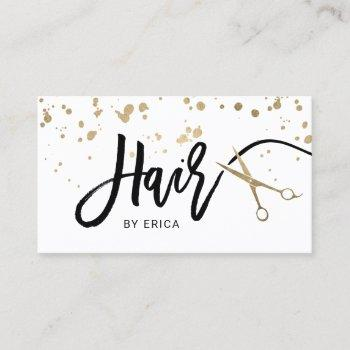 hair stylist modern gold typography & scissor business card