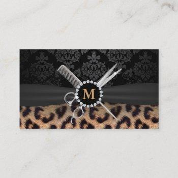 hair stylist monogram modern leopard print business card