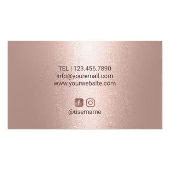 Small Hair Stylist Rose Gold Glitter Drips Beauty Salon Business Card Back View