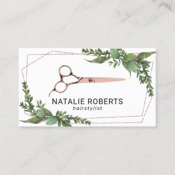 hair stylist rose gold scissor geometric greenery business card