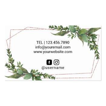 Small Hair Stylist Rose Gold Scissor Geometric Greenery Business Card Back View