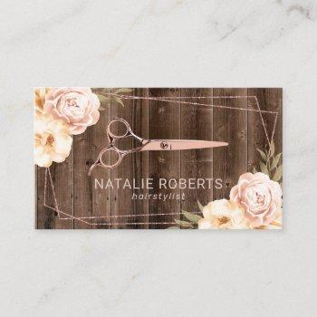 hair stylist rose gold scissor rustic floral business card